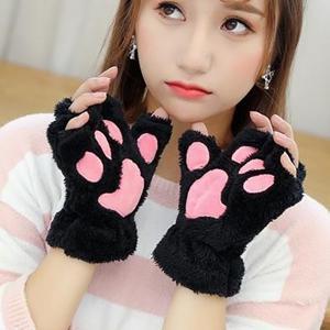 여자 곰 인형 고양이 발톱 장갑 겨울 가짜 모피 귀여운 새끼 고양이 핑거리스 장갑 장갑 크리스마스 할로윈 여자 여자