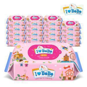 아이러브베베  핑크 100매 20팩 대용량 리필형 아기물티슈